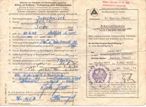 Arbeitserlaubnis von 1971